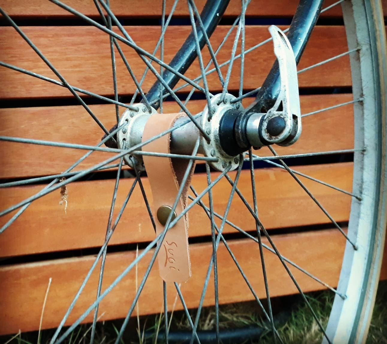 Bicycle Leather Hub Shiners Bike Horween Honey Brown Black Wheel