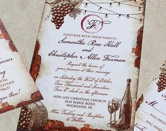Vintage Winery Wedding Invitation Set. Vineyard themed wedding invitations. Vintage Vineyard Fairylights Wedding Invitation