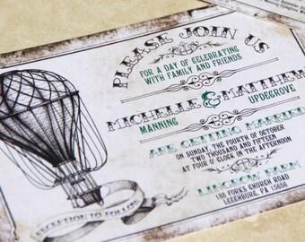 Vintage Hot Air Balloon Wedding Invitation Set. Air Baloon, Up Up and Away Wedding Invitations.