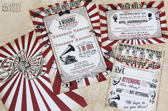 Vintage Carnival Themed Wedding Invitation Circus Themed Etsy