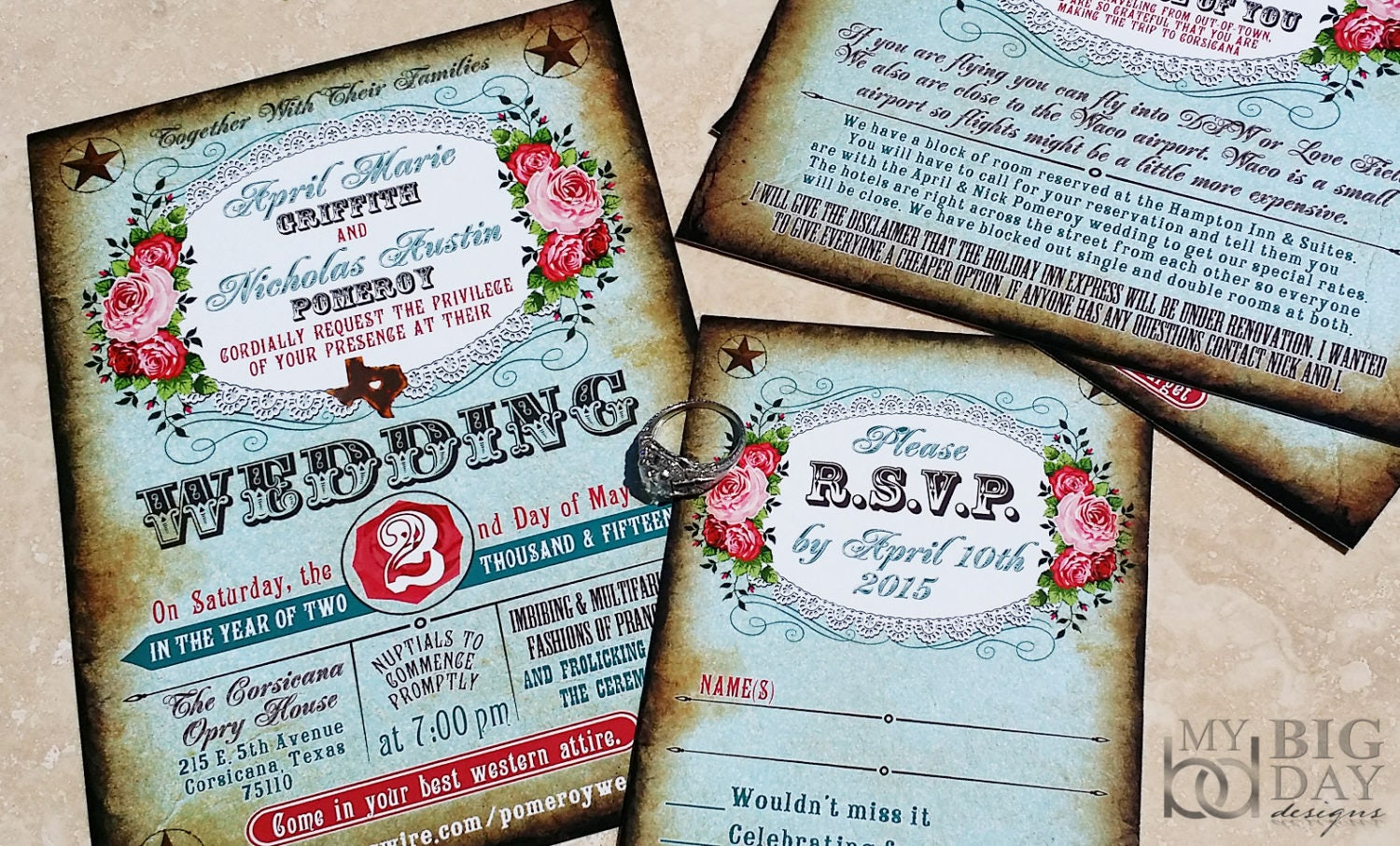 Boots Wedding Invitations: Boots And Bling Western Wedding Invitation Set. Western