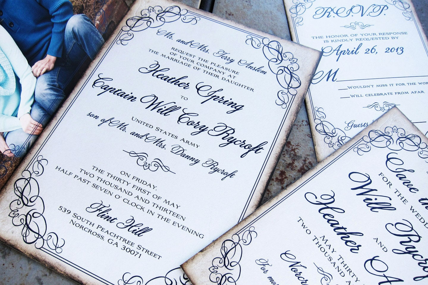 Flourish Wedding Invitations: Calligraphy Script Flourish Wedding Invitation Set. Framed