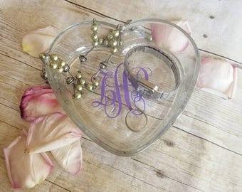 Coeur en forme-bijoux-plat-monogramme ou le personnaliser (inclus dans le prix).