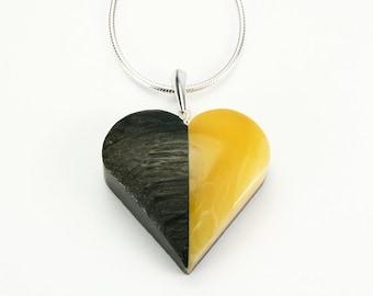 Heart pendant - Baltic amber, silver, black oak