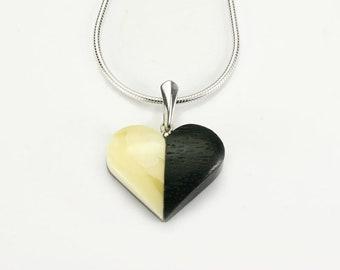 Pendant heart of Baltic amber and Black oak