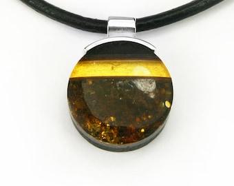 WO6 pendant - amber, silver, black oak