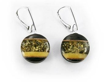 Earrings - amber, silver, black oak