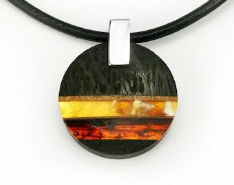 WO2 pendant - amber, silver, black oak