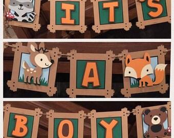 woodland  animal baby shower banner, woodland animal baby shower decoration, woodland baby shower decorations, forest animal garland, swag