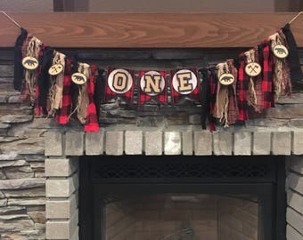Lumberjack one birthday party high chair banner, rustic buffalo plaid one boy birthday banner, rustic buffalo plaid high chair garland, 1st