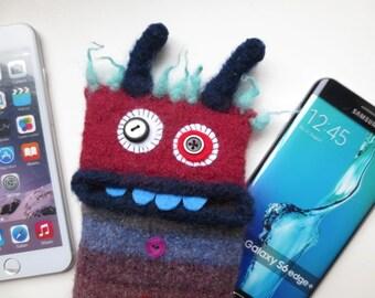 "Smartphone monster ""Gustav"", felted, cellphone bag, sleeve, iphone 8 Plus, handy Monster, felt, wool, case, felted, Galaxy S 6 edge +"