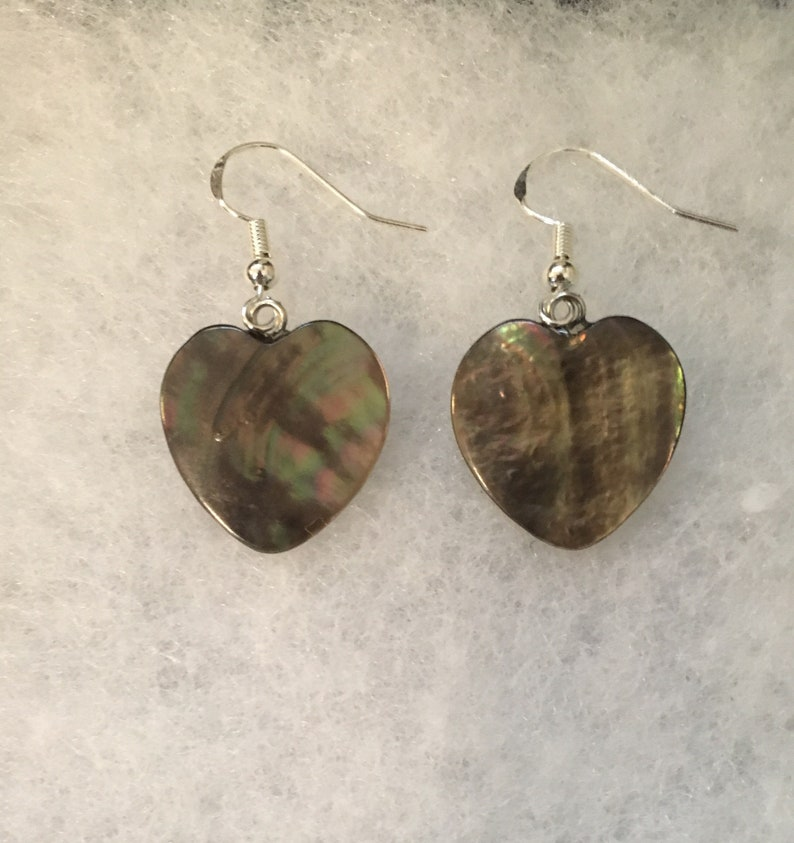Black Shell Heart Earrings with Sterling Silver Hooks