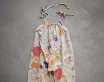 Boho jumpsuit with straps for baby and little girl