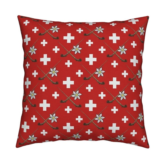 Cushion cover, Switzerland, Alphorn, red white