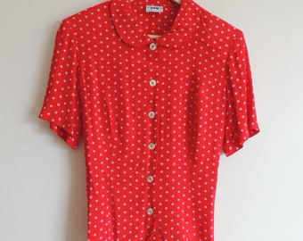 FREE SHIPPING - Vintage JOY red and white dots/flower blouse with collar, buttons and back belt, size 34