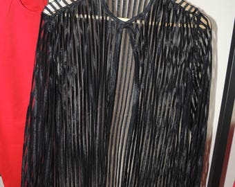 FREE SHIPPING - Vintage striped Translucent long sleeve black top/blouse with fabric button
