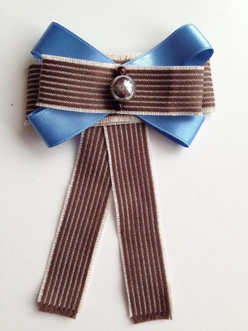 Handmade Brown Bow Brooch with blue ribbon and silver color bead