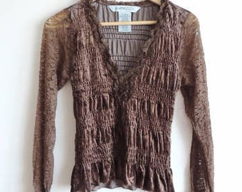 FREE SHIPPING - Vintage JONATHAN Martin Hippie Boho Brown velvet, lace long sleeve blouse/ top, size S, Made in India