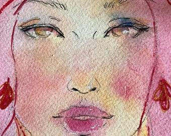 original ~ Queen of the Ocean - Ponyo's Mom - watercolor painting