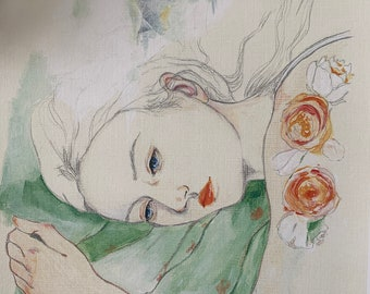 """Title: """"Dreaming..."""" - art print, girl, flowers, acrylic painting print"""