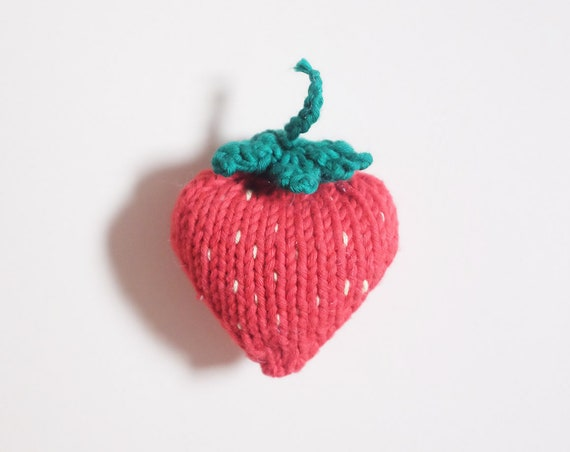 Child's toy Strawberry knit - knit strawberry - workshop me