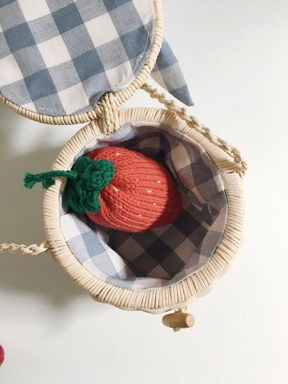 Knitted Strawberry XL, children's fruit blankie, hand-made educational toy