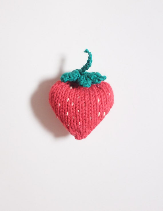 Child's toy Strawberry knit - knit strawberry - workshop me