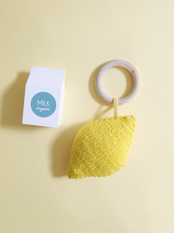 Lemon teething ring, handmade teething ring, lemon blanket