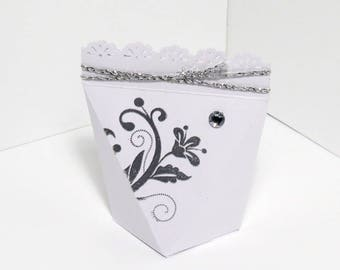 Self-closing favor box with embossed silver, wedding, wedding, bombiniere, multicolor, baptism, favour