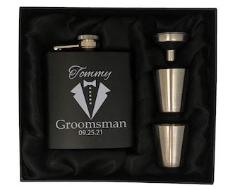 Personalized Groomsmen Gifts - Custom Groomsman Flask Gift Set - Groomsmen Flask Gift Box -Groomsmen Gift Box - Wedding Party Gift