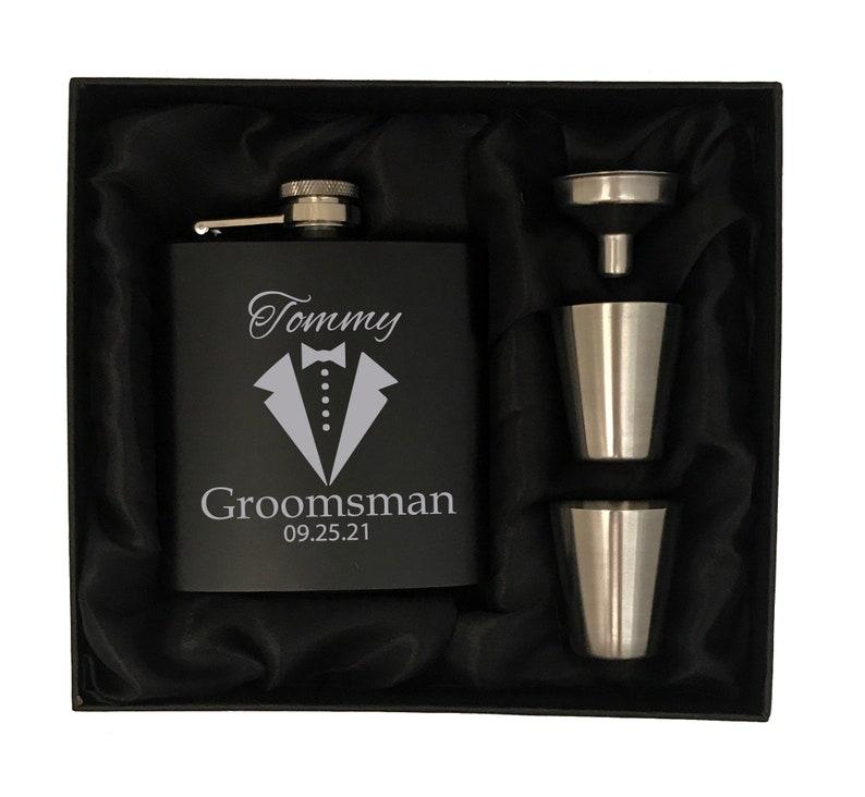 Personalized Groomsmen Gifts  Custom Groomsman Flask Gift Set image 1