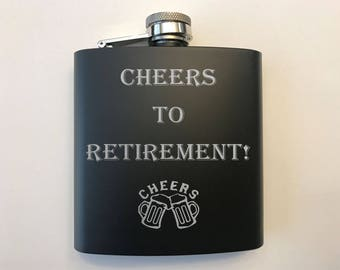 Retirement Gift - Gift for Retirement - Retirement Flask - Cheers to Retirement - Gift for Retiree - Idea for Retiree