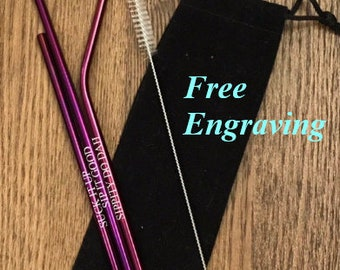 Personalized Metal Straws with Pouch - Stainless Steel Drinking Straws - Custom Drinking Straw - Reusable Straw -
