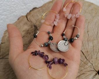1PC Victorian handmade black finish multi gemstone hoop earrings,ruby white topaz black spinel peridot yellow topaz amethyst hoops earrings