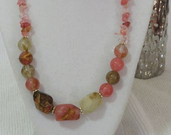 Cherry quartz and faux-stone glass necklace