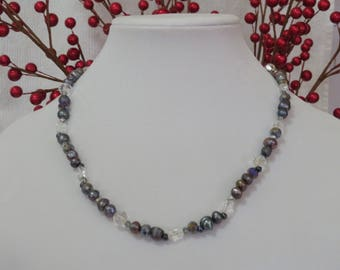 Gray pearl and clear glass necklace