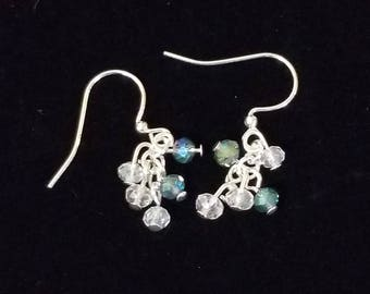 Blue and clear crystal cluster earrings