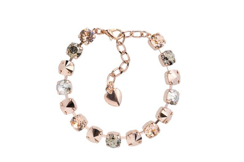 Rhinestone Swarovski Bracelet Wedding Jewelry Charm Bracelet Bridal Jewelry  Swarovski Crystal Lobster Clasp Heart Bracelet Women Gifts