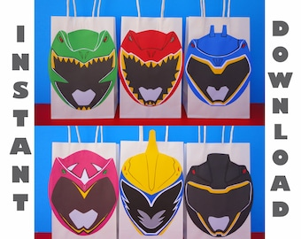 Power Rangers Favor Bag Gift Birthday Cupcake Toppers Printable Party