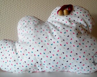 Cushion cloud white and pink - 35 cm x 30cm