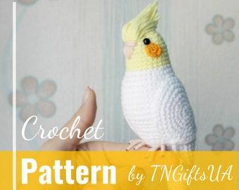 Crochet parrot DIY pattern Easy Tutorial PDF Amigurumi Cockatiel stuffed animal New Year bird Crochet Decor White bird ornament pet loss