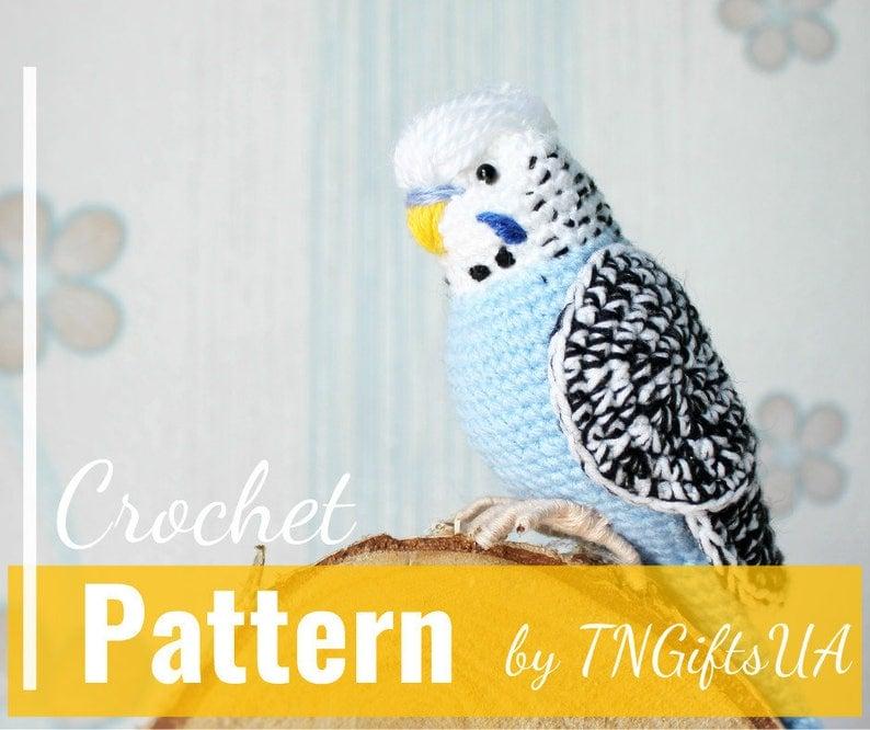 ace1f410c2 Crochet budgie pattern Tutorial PDF Amigurumi Easter bird