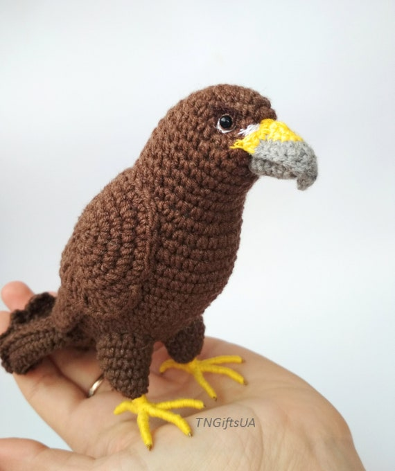 Crochet Golden Eagle Stuffed Animal Plushies Bird Amigurumi Etsy