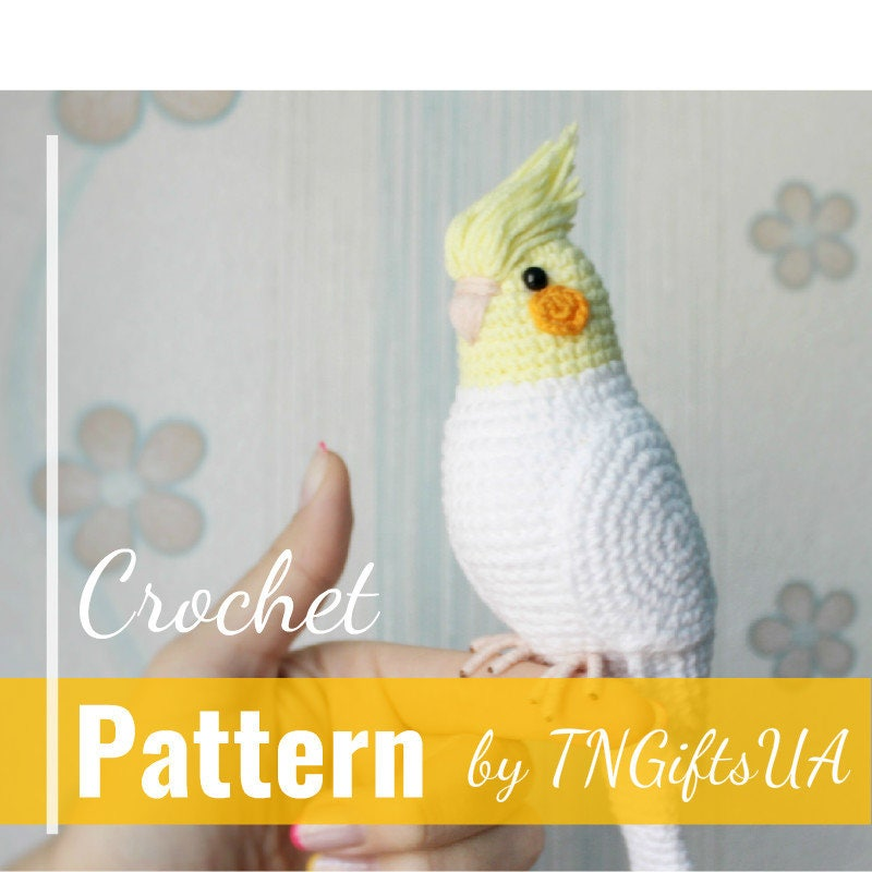 Crochet parrot DIY pattern Easy Tutorial PDF Amigurumi Cockatiel stuffed  animal Easter bird Crochet Decor White bird ornament pet loss