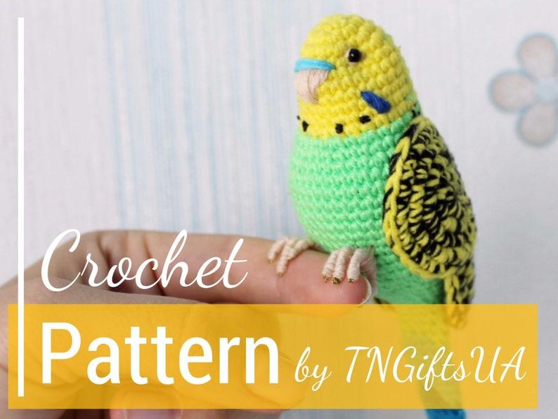 0885ec7407 Crochet Green Budgie Easy PATTERN DIY Tutorial PDF Mother bird