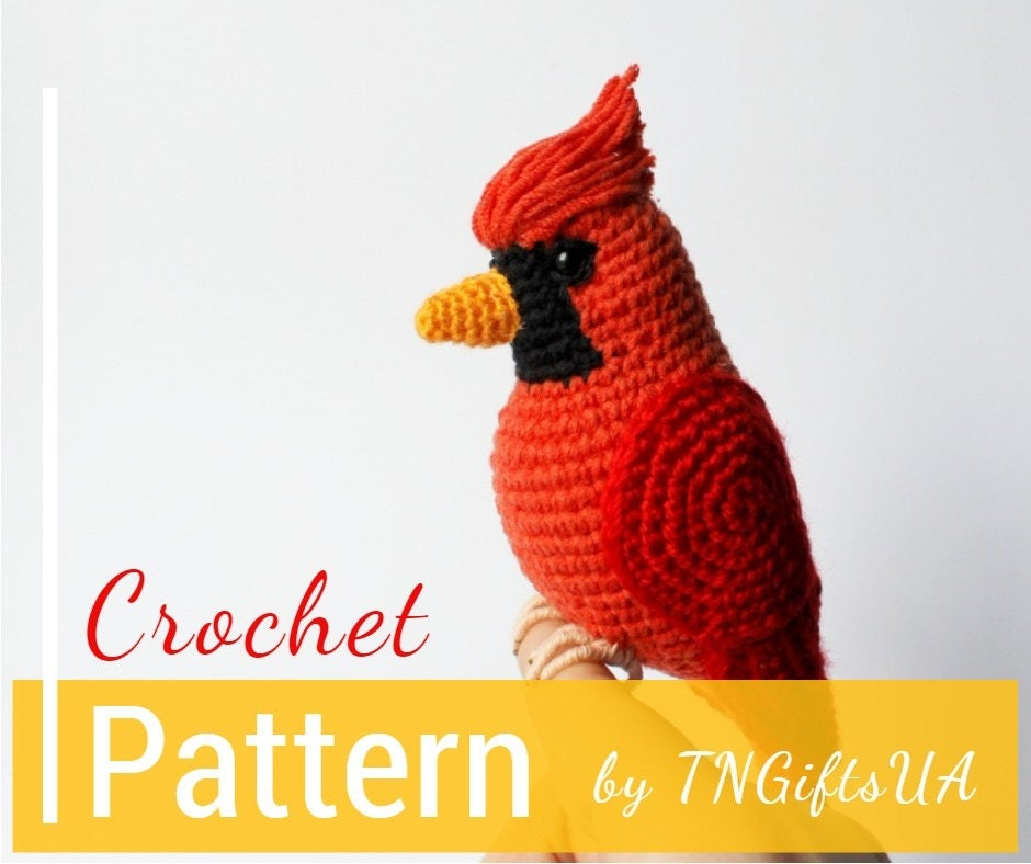 Crochet Cardinal Red Bird Pattern Tutorial Pdf Christmas Tree Etsy