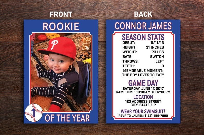 Baseball Party Invitation Rookie Card Custom