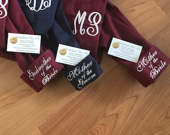 Mother of the Bride Shirt, Monogrammed  Mother of the Groom shirt ,FREE CUFFS - Maid of honor gift - make up shirt - Wedding, Mothers day