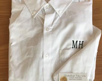 Monogrammed Men's shirt, personalized groom shirt, groomsmen shirt, monogrammed dads shirt