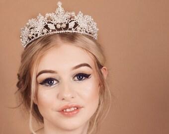tiara - tiara crown - wedding tiara - bridal tiara - silver tiara - leaf tiara - pearl tiara - vintage tiara - crystal crown - crystal tiara